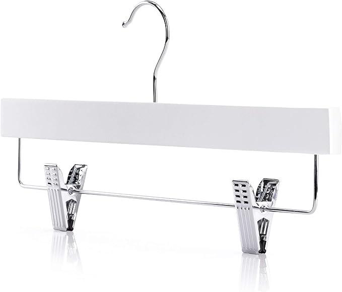 36 cm Perchas Rectas De Madera con Pinzas De Metal Hangerworld 10 Unidades Color Blanco