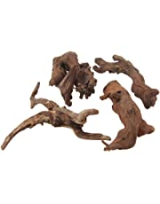 Emours Natural Driftwood Branches Reptiles Aquarium Decoration Assorted Size,Small,4 Pieces