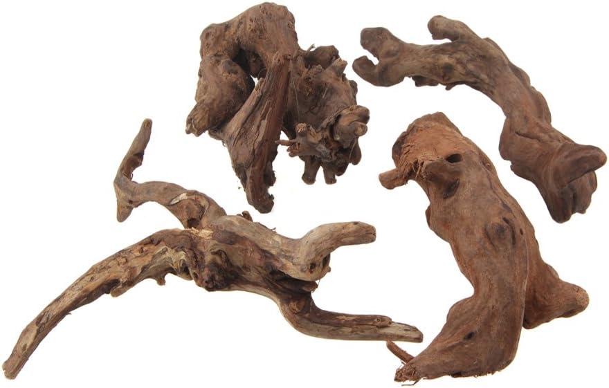 Emours - Ramas de madera natural para reptiles y decoración de acuarios y pecera, surtido de distintos tamaños pequeño (4unidades)