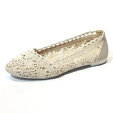 3d6f928ec206 Ideal Ladies Lace Ballerina Flat Shoes White Navy Blue Ballet Flats Wedding  Bridal Bridesmaid (4 (EUR 37)
