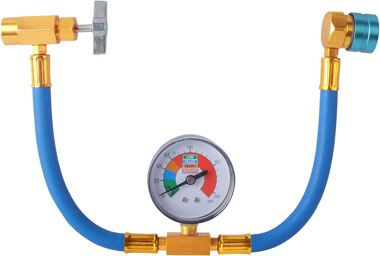 R1234YF Refrigerant Charge Hose Kit, R-1234YF AC refrigerant Can Hose with Gauge, 1/2 Acme LH Can Opener Tap And R1234YF Low Side Adapter