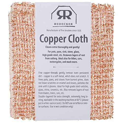 (REDECKER Copper Cleaning Cloth, Set of 2, Durable and Non-Abrasive Scrubber, Machine Washable, Made in The Netherlands )
