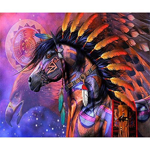 Paint by Numbers for Adults Frameless Canvas - DIY Full Set of Assorted Color Oil Painting Kit and Brush Accessories - Feather Horse, 16X20 Inch - Frameless Oil Painting Set