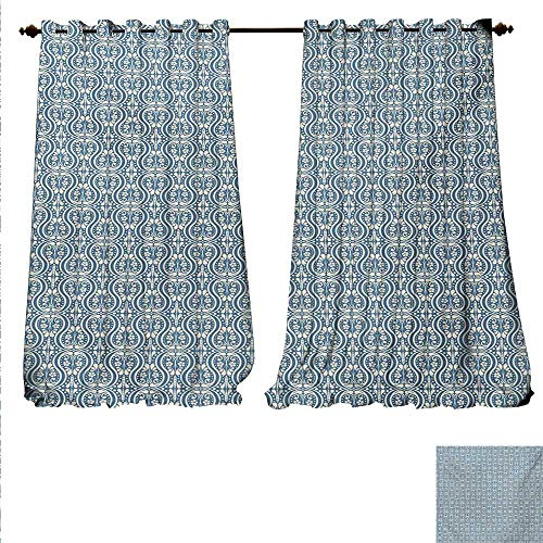 familytaste Waterproof Window Curtain Symmetrical Ancient Flowers and Curls Wavy Lines Old Ornamental Curves Tile Waterproof Window Curtain W84 x L84 Slate Blue Ivory.jpg