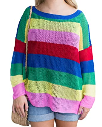 Imily Bela Womens Rainbow Striped Boat Neck Oversized Crochet Cable