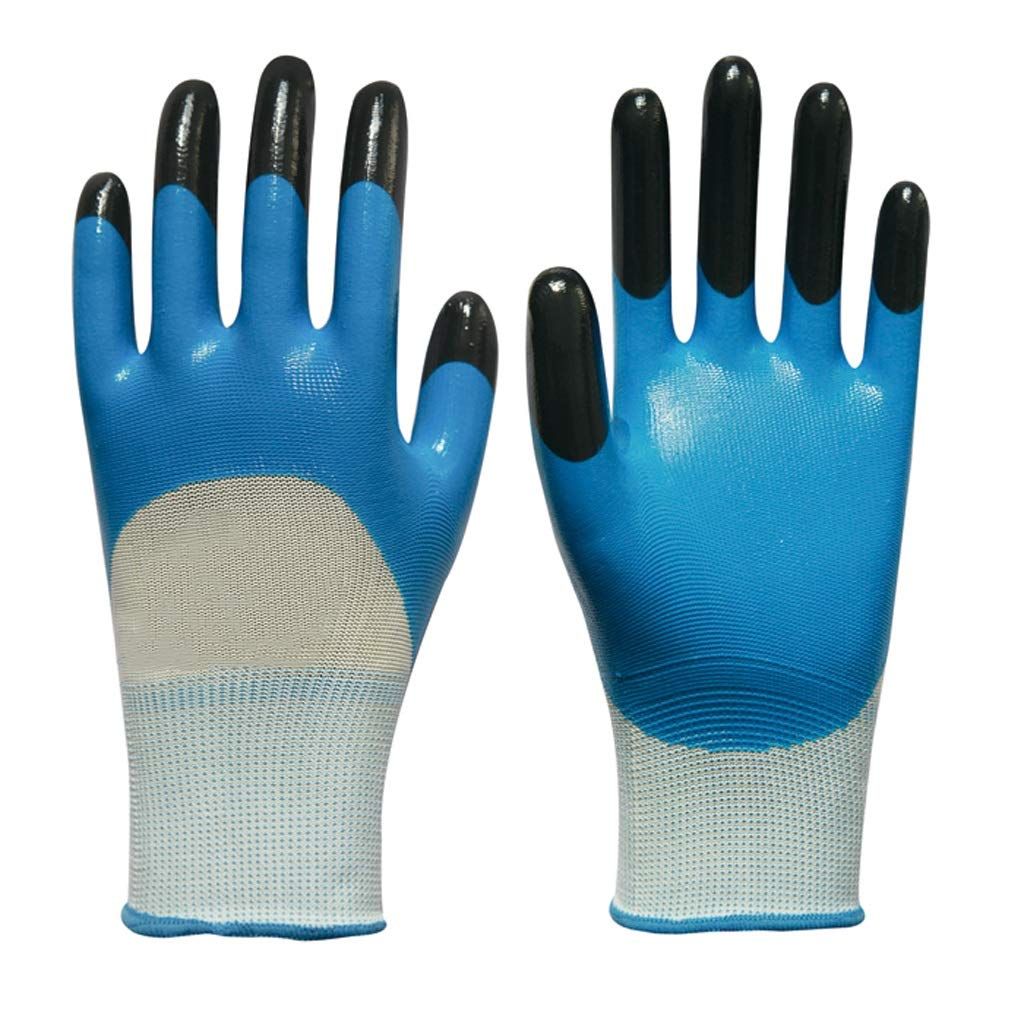 LZRZBH Industrial Gloves, Working Gloves for Women and Men, Warrior PU Coated Nylon Gloves,Blue, Set of 12 (Color : A)