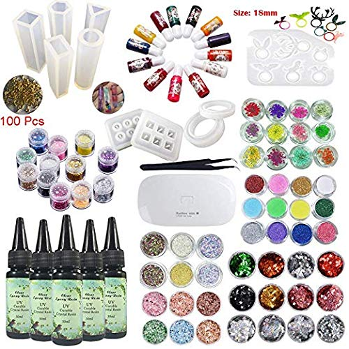 5 Pcs 30ML Crystal Epoxy Resin UV Glue, 10Pcs Silicone Mould 100 Pieces Golden Rings, Mini Lamp Tweezer 13 Color Liquid Pigment 12 Glitter Sequins 48 Pcs For Jewelry Earrings Necklace Bracelet