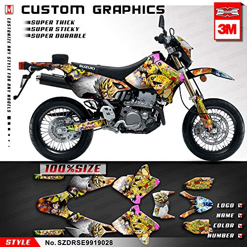 Graphic Kit Red Stock - Kungfu Graphics Custom Decal Kit for Suzuki DRZ400 SM Supermoto 1999 2000 2001 2002 2003 2004 2005 2006 2007 2008 2009 2010 2011 2012 2013 2014 2015 2016 2017 2018 2019, Yellow, SZDRSE9919028