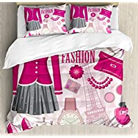 Ambesonne Girls Duvet Cover Set, Fashion Theme in Paris with Outfits Dress Watch Purse Perfume Parisienne Landmark, 3 Piece Bedding Set with Pillow Shams, Queen/Full, Pink Biege