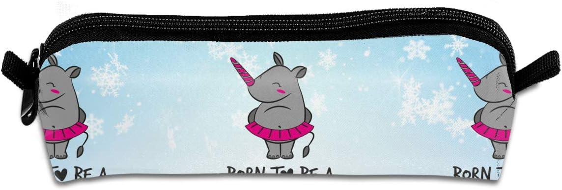 EWFBVa Durable Zipper Stationery Bag Born to Be A Unicorn Big Capacity Pencil Case