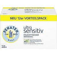 Penaten Ultra Sensitiv Feuchttücher parfümfrei – Tücher ohne Alkohol und Parfüm für hochsensible Babyhaut – Auch für Allergiker geeignet – Vorteilspack: 12x56 Stück