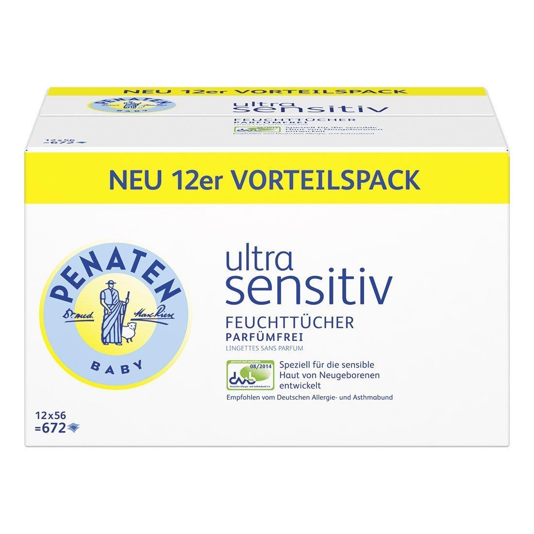 Penaten Ultra Sensitiv Feuchttücher parfümfrei – Tücher ohne Alkohol und Parfüm für hochsensible Babyhaut – Auch für Allergiker geeignet – Vorteilspack: 12x56 Stück 41800