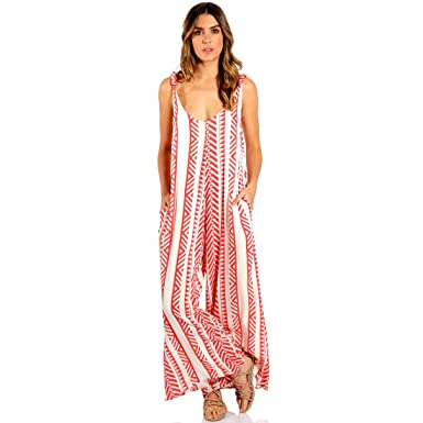 67274802f0a Amazon.com  ELAN Tribal Print Wide Leg Jumpsuit with Pockets in Red and  Cream
