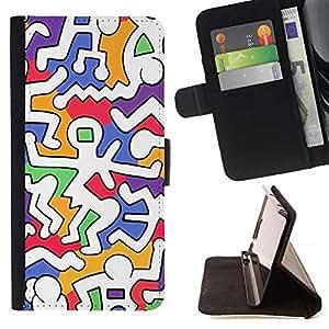 For HTC One A9 Case , Colorido extranjero Weird Blanco Moderno- la tarjeta de Crédito Slots PU Funda de cuero Monedero caso cubierta de piel