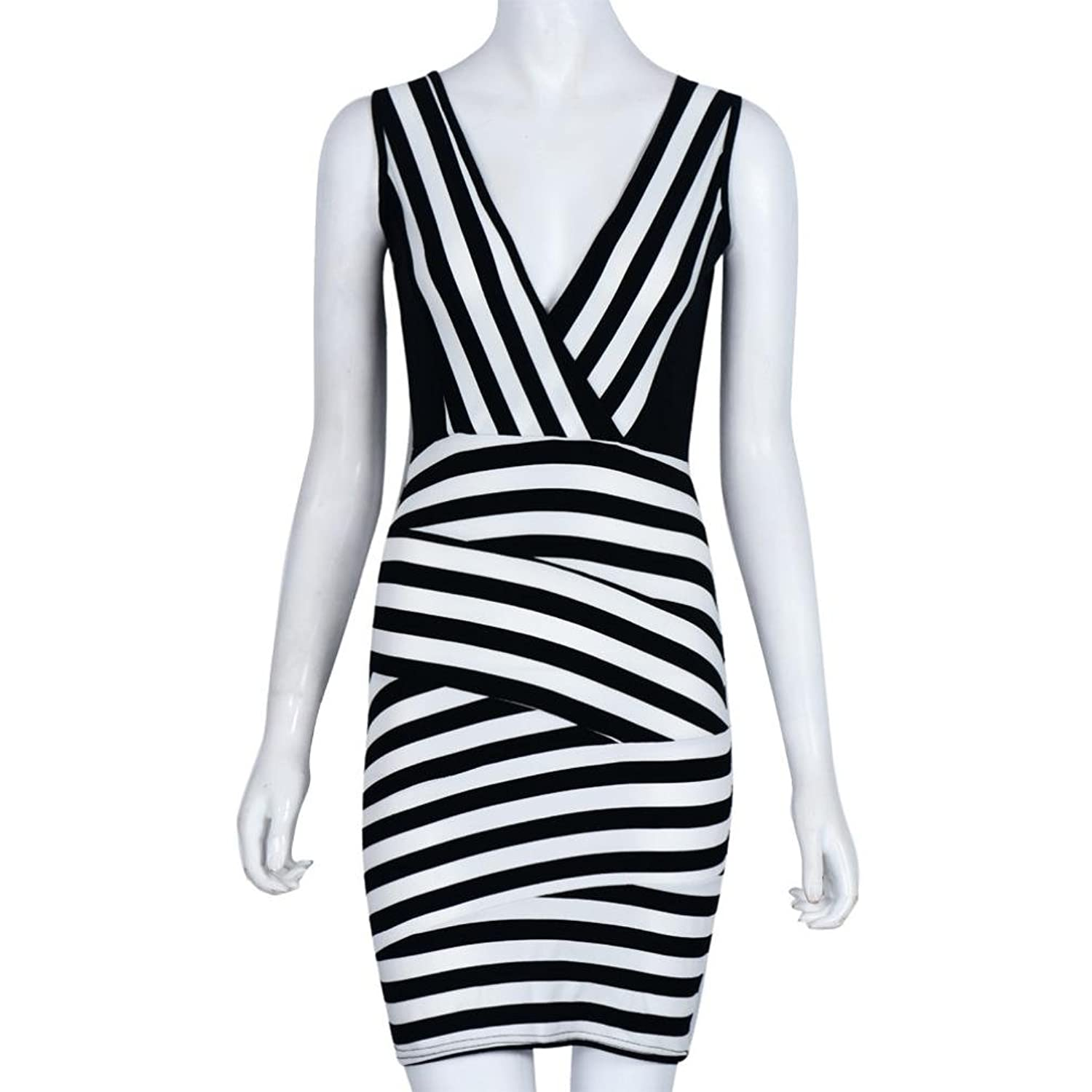 GOTD Sexy Stripe Patchwork V-Neck Sleeveless Sheath Mini Dress Slim Fit Bodycon