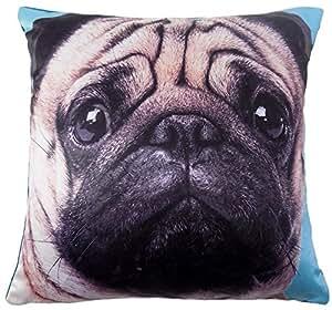 De perro suave azul de terciopelo marrón funda para cojín 43,18 cm - 43 cm