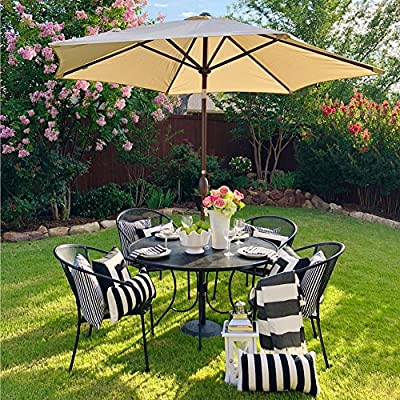 Abba Patio Striped Patio Umbrella 9-Feet Outdoor Market Table Umbrella with Push Button Tilt and Crank