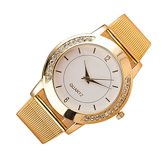 Mujer Reloj de Moda Chino Cuarzo Reloj Casual Acero Inoxidable Reloj (Dorado): Amazon.es: Relojes