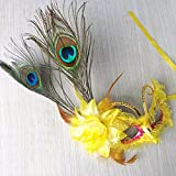 Damjic Peacock Feathers Child Make-Up Prom Masks Dance Performances Masks Yellow