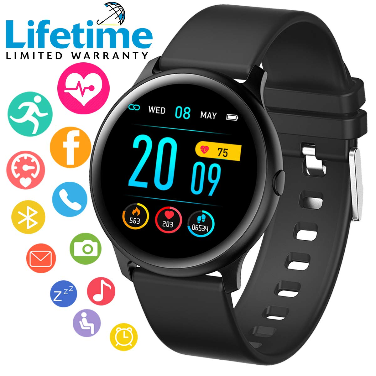 Smart Watch, Smartwatch for Android Phones, Sport Fitness Watch with Blood Pressure Heart Rate Monitor Fitness Tracker Activity Tracker Watch with ...