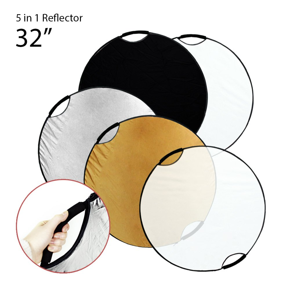 Julius Studio 32' Handheld 5-in-1 Collapsible Lighting Reflector Disc Panel Light Diffuser for Photo Photography Studio, JSAG168 JSAG168-CA