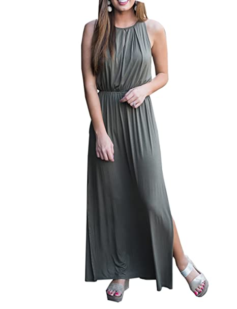 424e7b4fae8 BMJL O Neck Hollow Out Sleeveless Cotton Army Green Occasion Casual Maxi  Dress Summer Dresses M Army Green  Amazon.co.uk  Clothing