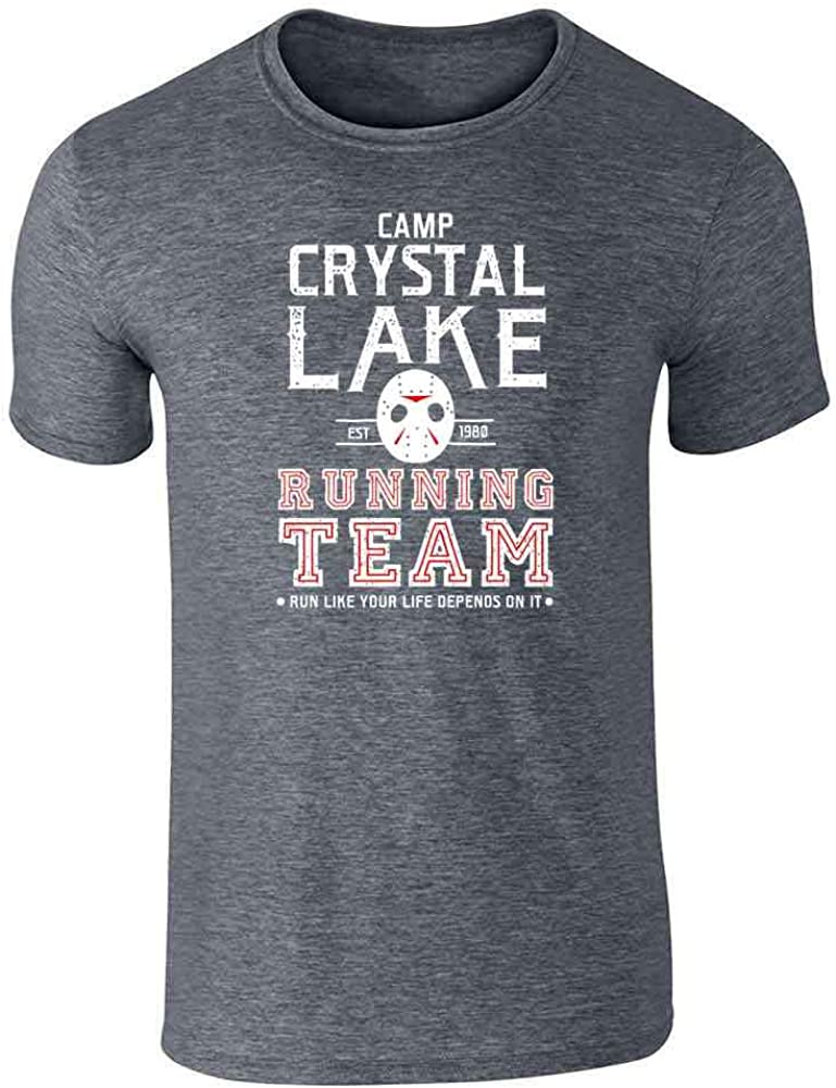 Pop Threads Camp Crystal Lake Running Team Horror Costume Dark Heather Gray L Graphic Tee T-Shirt for Men