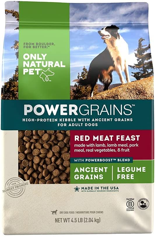 Only Natural Pet Powergrains Red Meat Feast Ancient Grains Dog Food - High-Protein Kibble Dry Dog Food for Adult Dogs Made with Lamb, Lamb Meal, Pork Meal, Real Vegetables, & Fruit - 4.5 Lb Bag