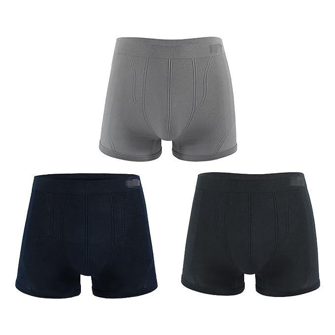 Los Hombres Ropa Interior Sin Costuras Verano Transpirable Juveniles Calzoncillos Cómodo (3 Pack),