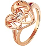Laprapha Heart Ring Rose Gold Plated Jewelry Love Engagement Rings with White Stones for Women Anillos