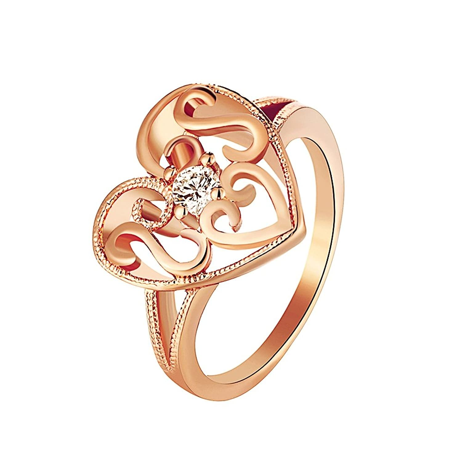Laprapha Heart Ring Rose Gold Plated Jewelry Love Engagement Rings with White Stones for Women Anillos de Boda Aliexpress R100 | Amazon.com
