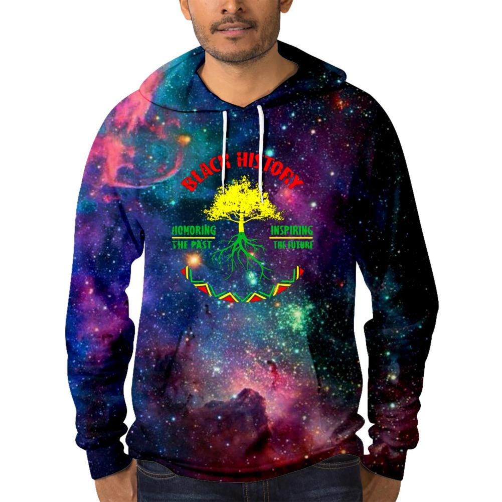 HNkiha Warm Mens Galaxy Hoodies,Creative Black History Tree Comfortable Printed Pocket Thicken Sweater