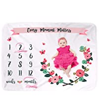 UrbanKiddy™ Weekly Monthly Baby Milestone Blanket Photo Props Shoots Backdrop for Newborn Boy Girl, Infant Baby Swaddling Blanket for Photography, New Mom Baby Shower Gift Ideas