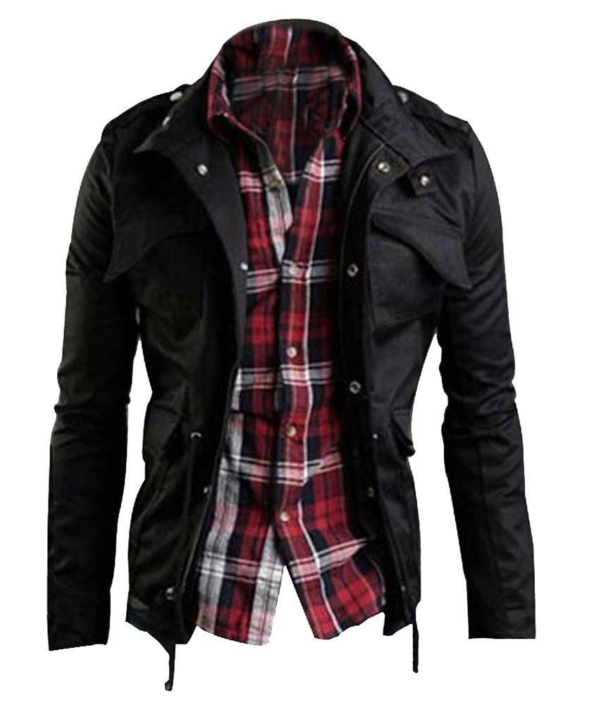Zicac Men's Casual Military Jacket Zip Button Long Sleeves Cotton Coat Windbreaker (L, Black) by Zicac