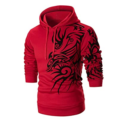 HDGTSA Men's Hooded Sweatshirt Long Sleeve Printed Hoodie Top Tee Slim Outwear Blouse at Men's Clothing store
