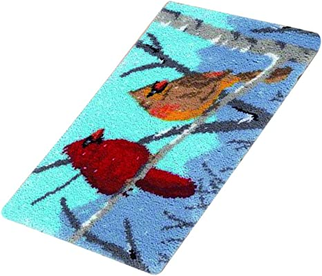 DIY Latch Hook Kit Rug Making Crafts for Kids//Adults 23.6 inch X 15.7 inch Colorful Animals Birds on Tree