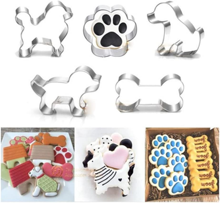 Puppy Dog Paw and Bone Shaped Cookie Cutter, Stainless Steel Biscuit/Fondant Molds Homemade Baking Tools by EORTA for Kids, Party, Dishwasher Safe, Set of 5