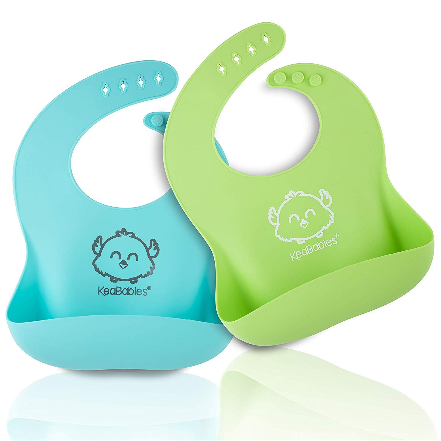 Silicone Baby Bibs - Waterproof, Easy Wipe Silicone Bib for Babies, Toddlers - Baby Feeding Bibs with Large Food Catcher Pocket - Travel Bibs Set for Boys, Girls - Food Grade BPA Free (Cloud Nine)