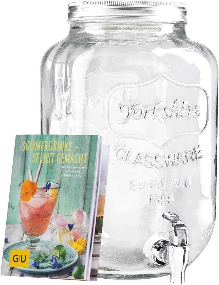 Levivo Dispensador de bebidas de vidrio, con grifo (8L)