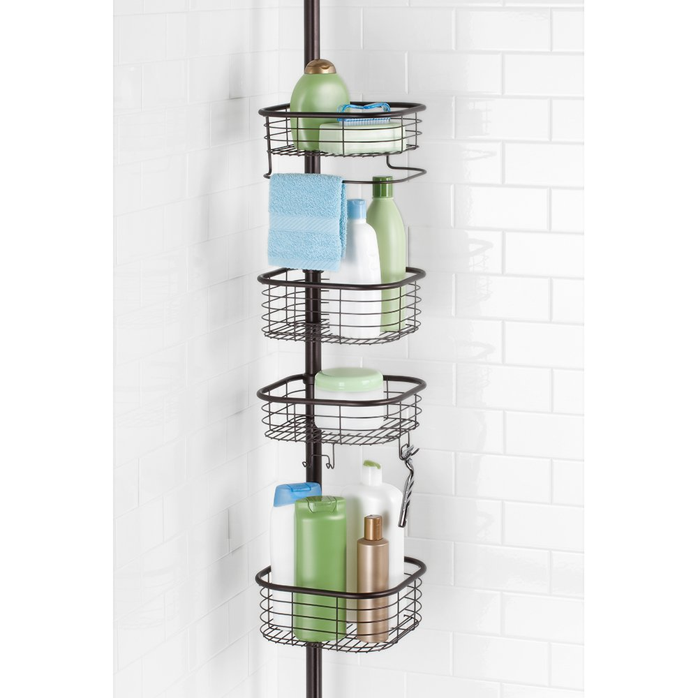 InterDesign Forma Constant Tension Shower Caddy – Square Bathroom Storage Shelves for Shampoo, Conditioner and Soap, Bronze by InterDesign (Image #3)