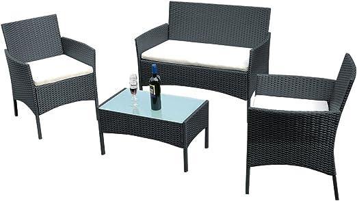 Conjunto mesa de cristal + 3 sillas de ratán pvc moderno ...