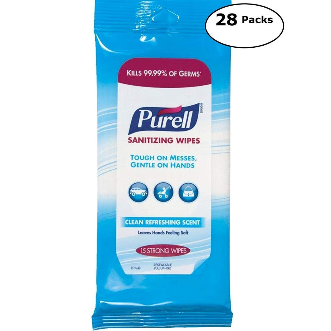 Purell手の消毒用個人Cleansing Wipes B07DDP7CZ6  420 Wipes (28 Packs x 15)