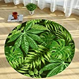 Green Leaf Round Living Room Rug Soft Comfortable Wearable Easy Clean ( Size : 100 cm diameter )