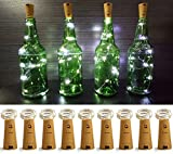 LXS Pack of 9 Cork Shape Wine Bottle Lights, Silver Wire Battery Operated Starry Rope Fairy Lights For Bottle DIY, Christmas Halloween Wedding Party Indoor Outdoor Decoration(Pure White)