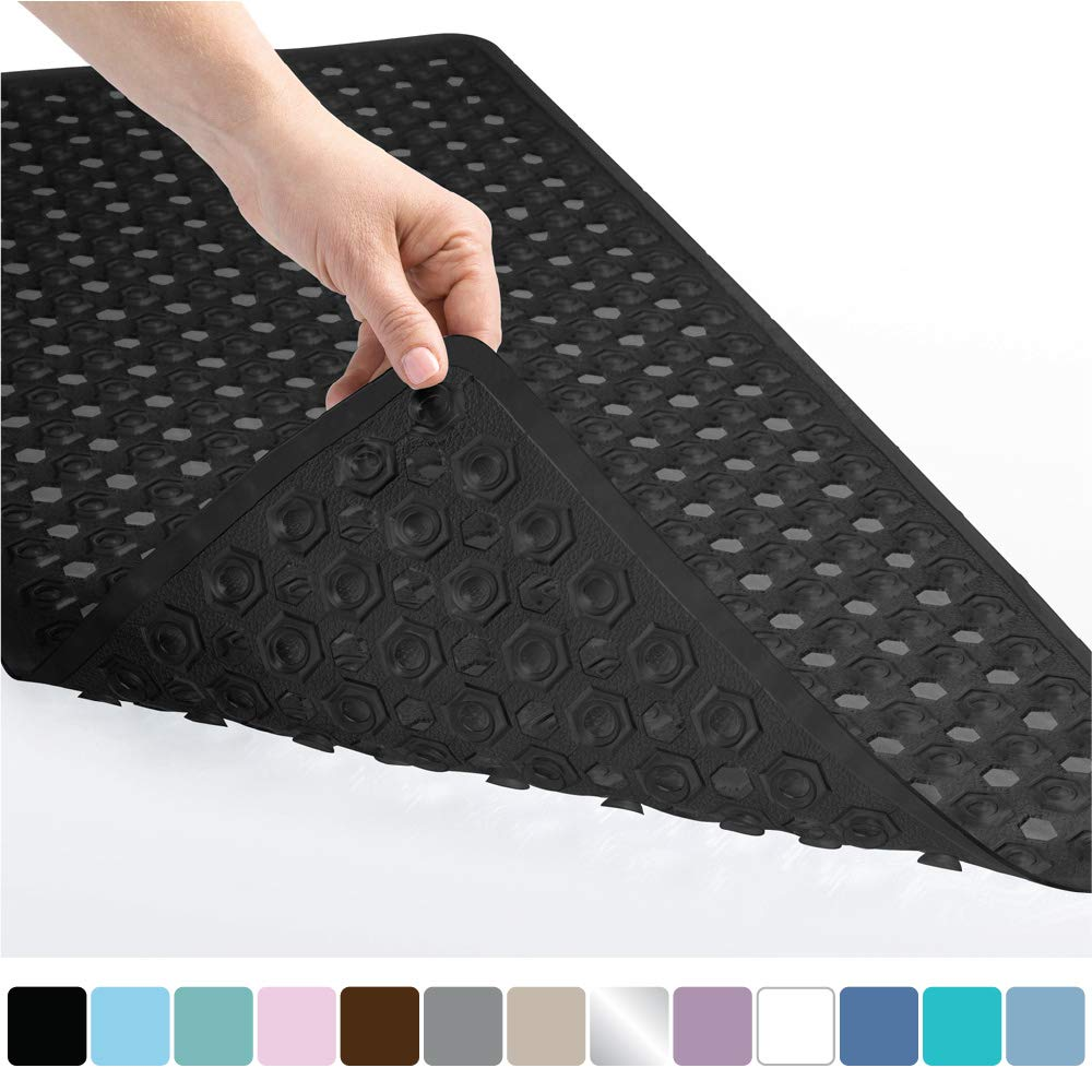 225 & Gorilla Grip Original Patented Bath Shower Tub Mat (35x16) Washable Antibacterial BPA Latex Phthalate Free Bathtub Mats with Drain Holes ...