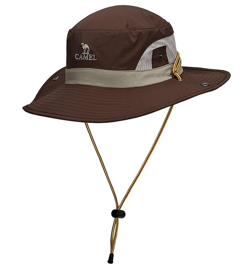 CAMEL CROWN Unisexo Pescador Sun Hat Al aire libre Secado rápido Sombrero plegable de ala ancha con Malla Transpirable y Correa de Barbilla Ajustable para Acampar Pesca Playa Ciclismo Ciclismo Caza (Marrón)