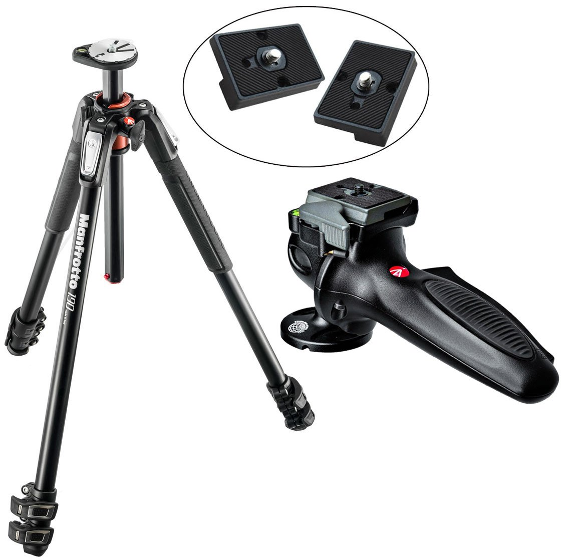 Manfrotto MT190XPRO3 3 Section Aluminum Tripod Kit W/ 327RC2 Light Grip Joystick Tripod Ball Head with Two Replacement Quick Release Plates for the RC2 Rapid Connect Adapter