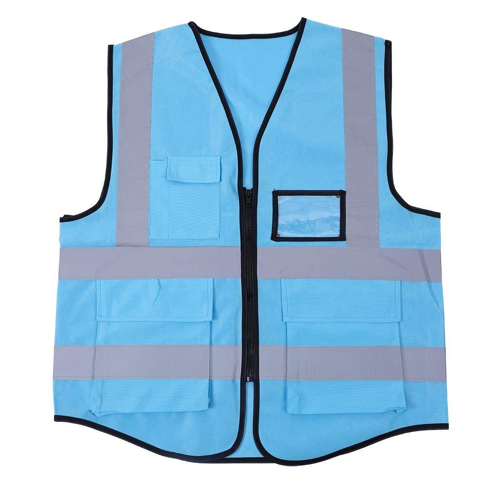 Chaleco Reflectante - Chaleco de Seguridad Delaman Multicolor ee Alta Visibilidad para Trabajar en el Exterior, Correr, Andar en Bicicleta, Andar en Motocicleta (Color : Blue)
