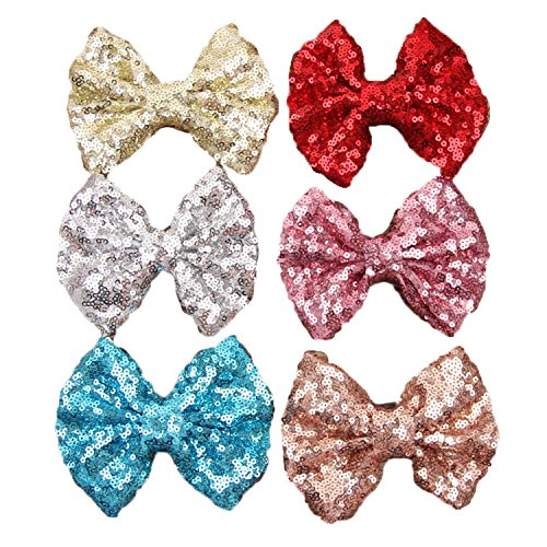 Century Star Baby Girls Charming Cute Sequin Bow Knot Hair Accessories Clip 6 Pcs (Cute And Easy Hairstyles For Halloween)