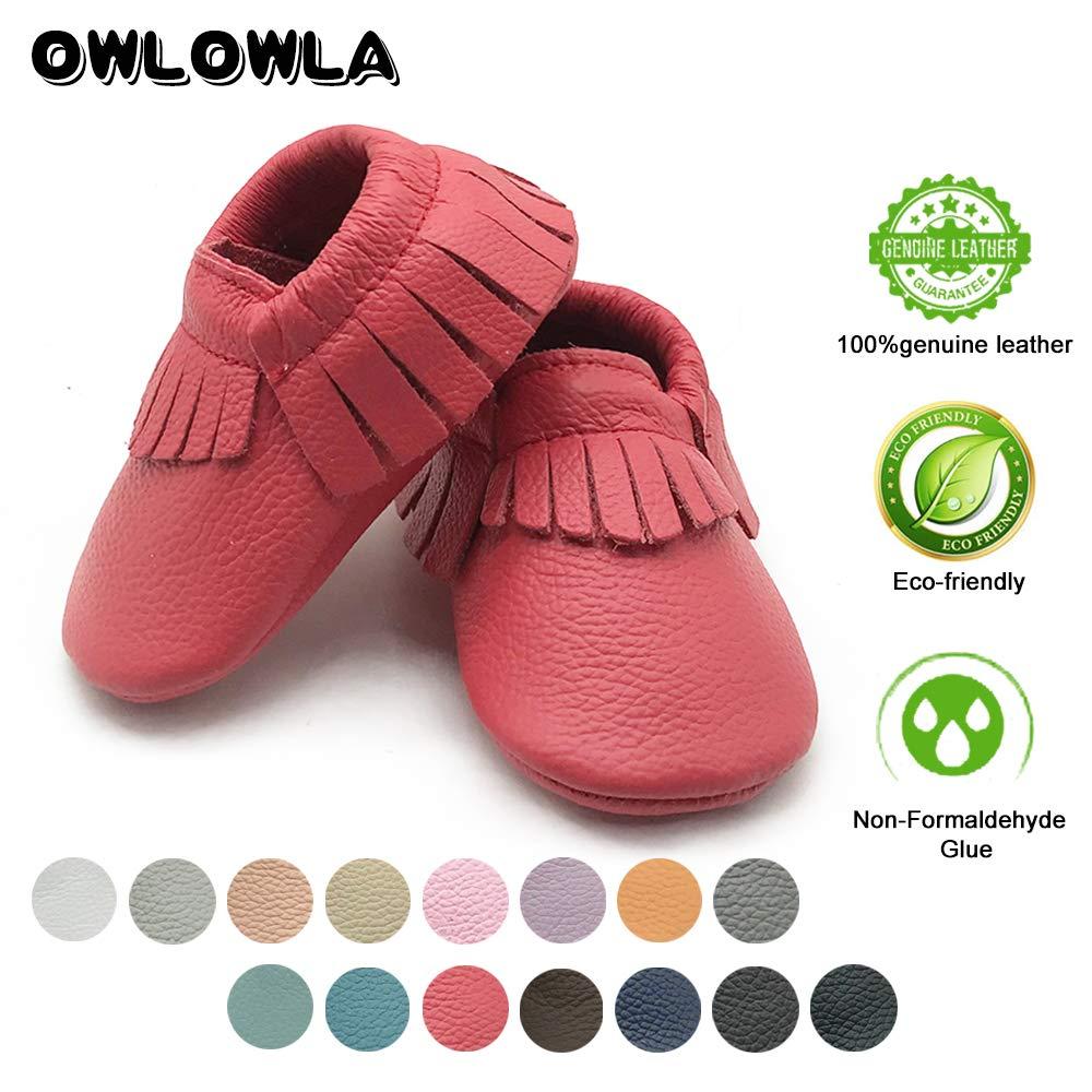 2208a63a3f4c Owlowla Baby Moccasins Leather Soft Sole Newborn Crib Shoes for Boys and  Girls  Amazon.com.au  Fashion